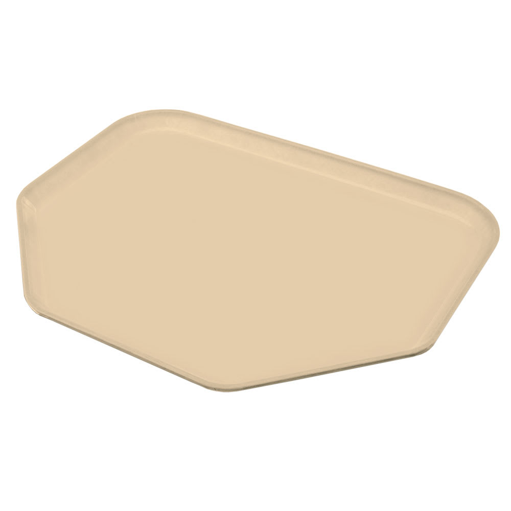 "Carlisle 1713FG025 Trapezoid Cafeteria Tray - 18x14"" Beige"