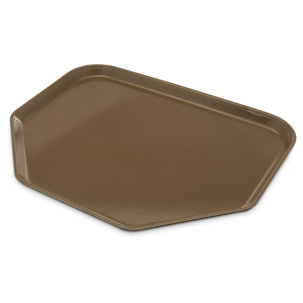 "Carlisle 1713FG076 Trapezoid Cafeteria Tray - 18x14"" Toffee Tan"
