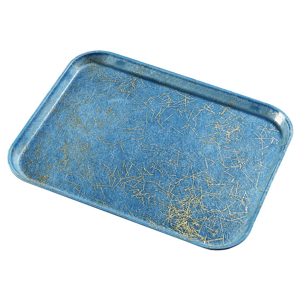 "Carlisle 1814DFG029 Rectangular Cafeteria Tray - 18x14"" Starfire Blue"