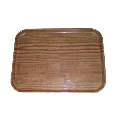 "Carlisle 1814WFG094 Rectangular Cafeteria Tray - 18x14"" Redwood Woodgrain"