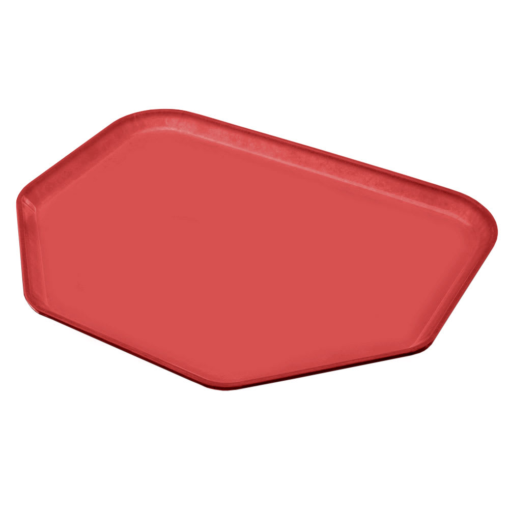 "Carlisle 2214FG020 Trapezoid Cafeteria Tray - 22x14"" Coral"