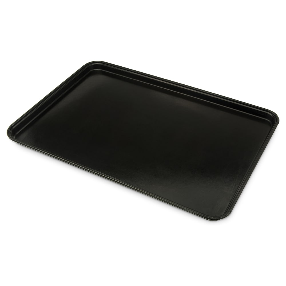 "Carlisle 2618FGQ004 Rectangular Display Tray - 25.63"" x 17.87"", Fiberglass, Black"
