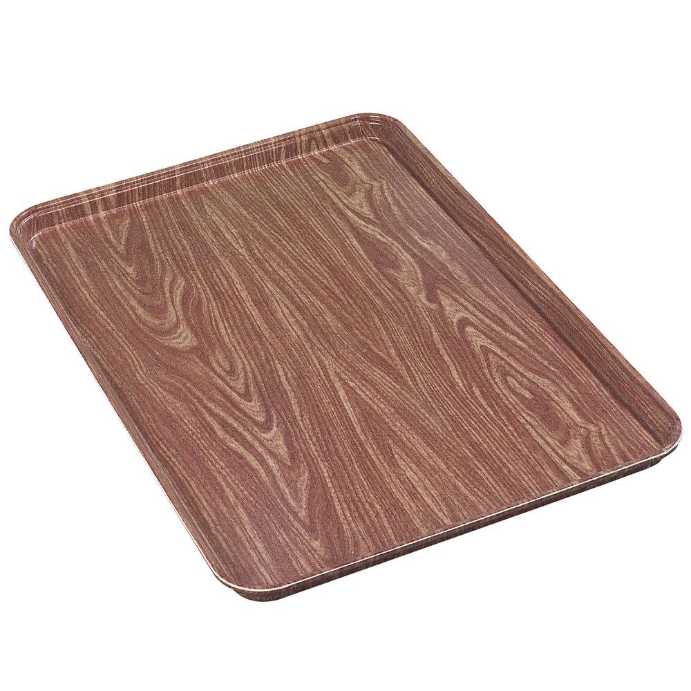 "Carlisle 2618WFGQ063 Rectangular Display/Bakery Tray - 25-5/8x17-7/8x1-1/4"" Pecan Woodgrain"