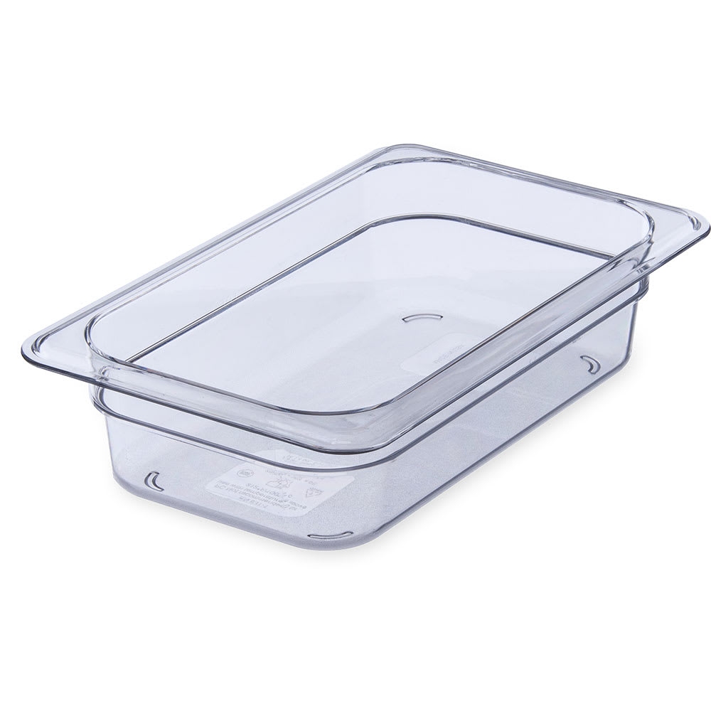 "Carlisle 3068007 1/4 Size Food Pan - 2 1/2""D, Clear"