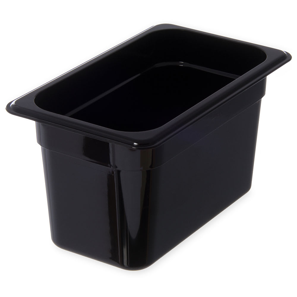 "Carlisle 3068203 1/4 Size Food Pan - 6""D, Black"