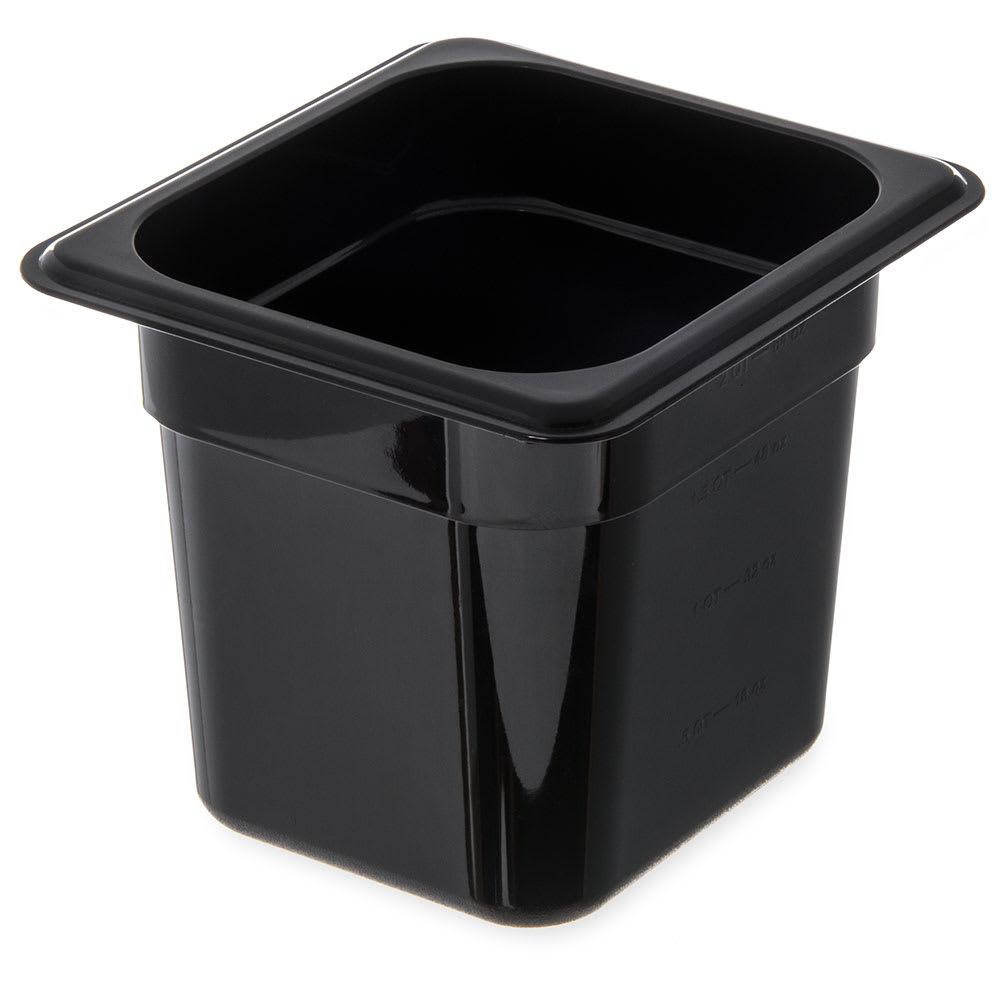 "Carlisle 3068503 1/6 Size Food Pan - 6""D, Black"