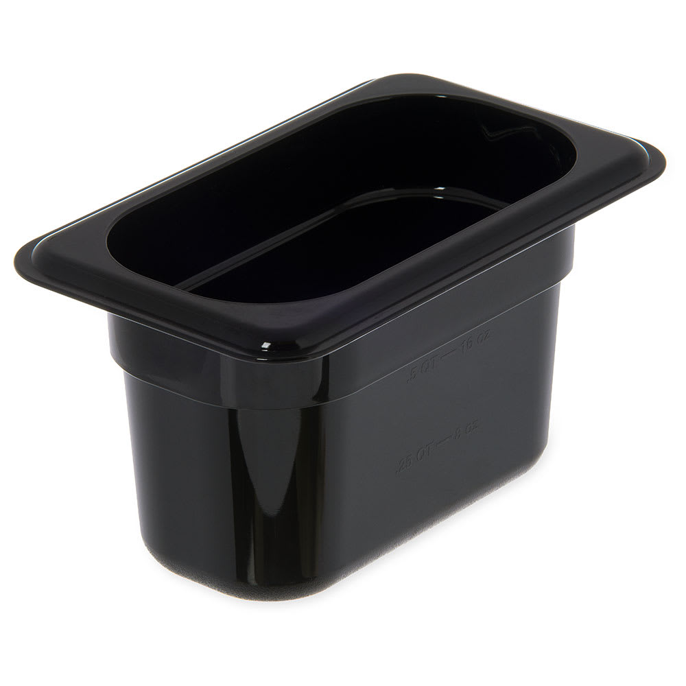 "Carlisle 3068703 1/9 Size Food Pan - 4""D, Black"