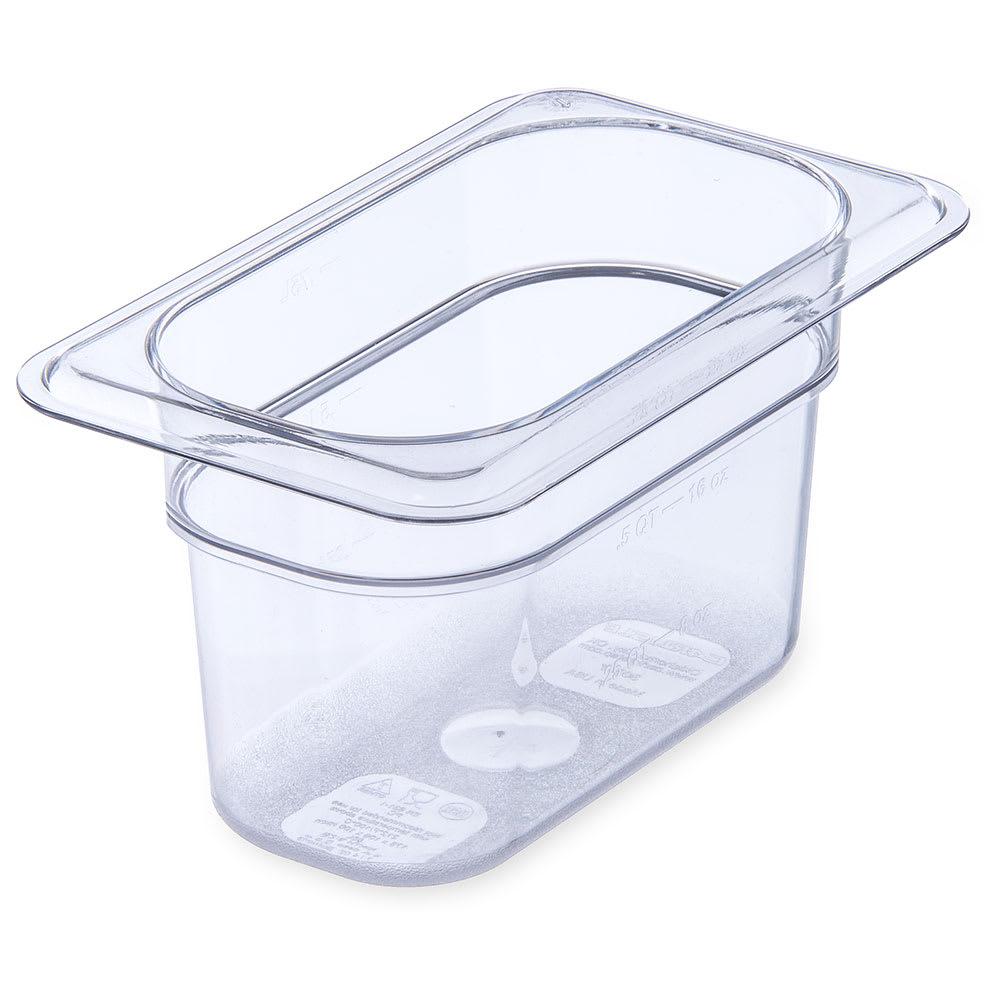 "Carlisle 3068707 1/9 Size Food Pan - 4""D, Clear"