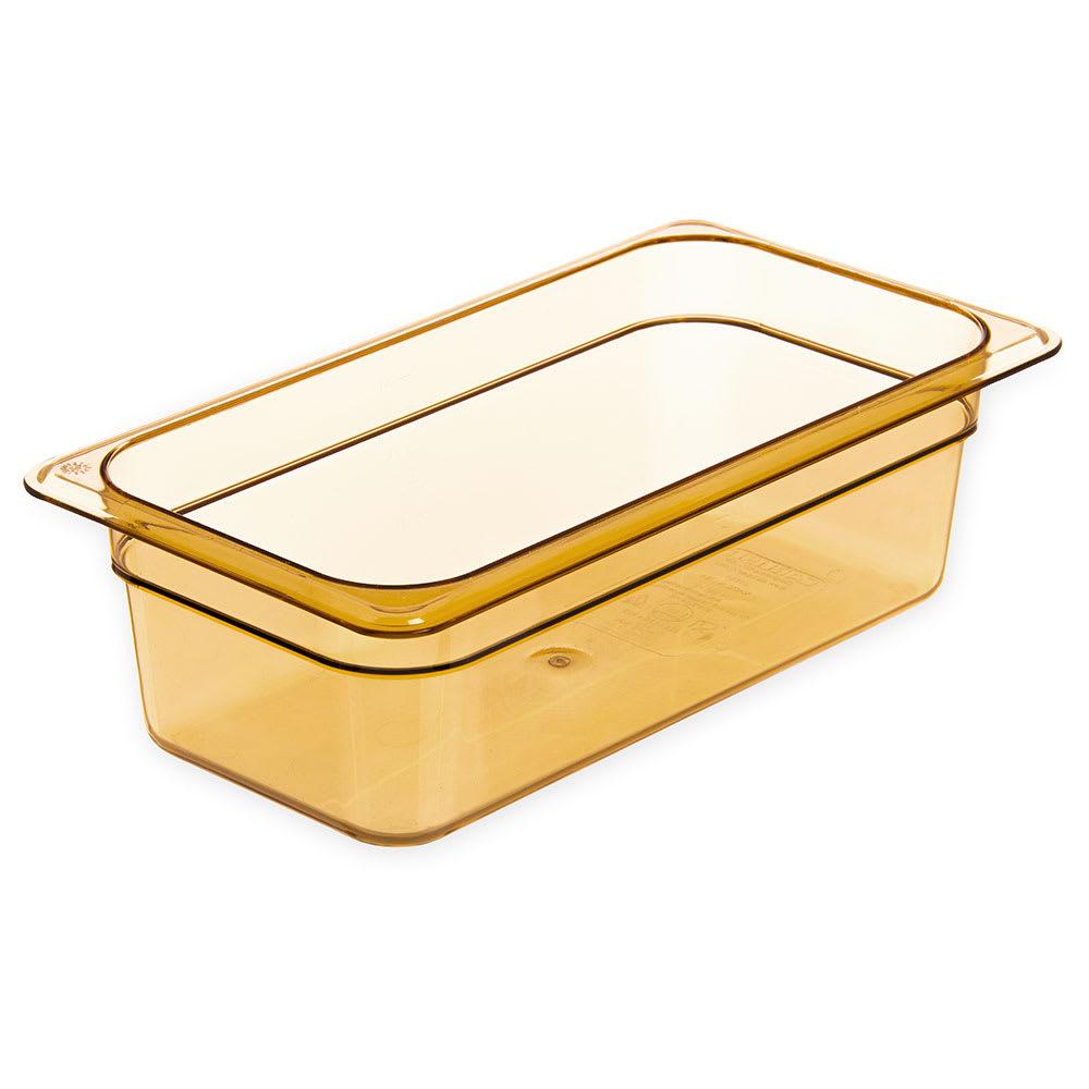 """Carlisle 3086113 High Heat 1/3 Size Food Pan - 4""""D, Amber"""