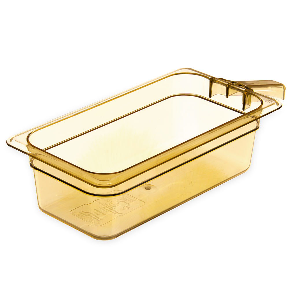 "Carlisle 30861H13 StorPlus High Heat Food Pan w/ Handle - 1/3 Size, 4""D, Amber"