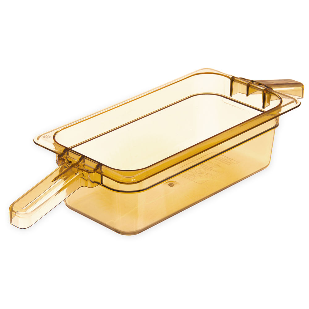 "Carlisle 30861HH13 StorPlus High Heat Food Pan w/ Handles - 1/3 Size, 4""D, Amber"
