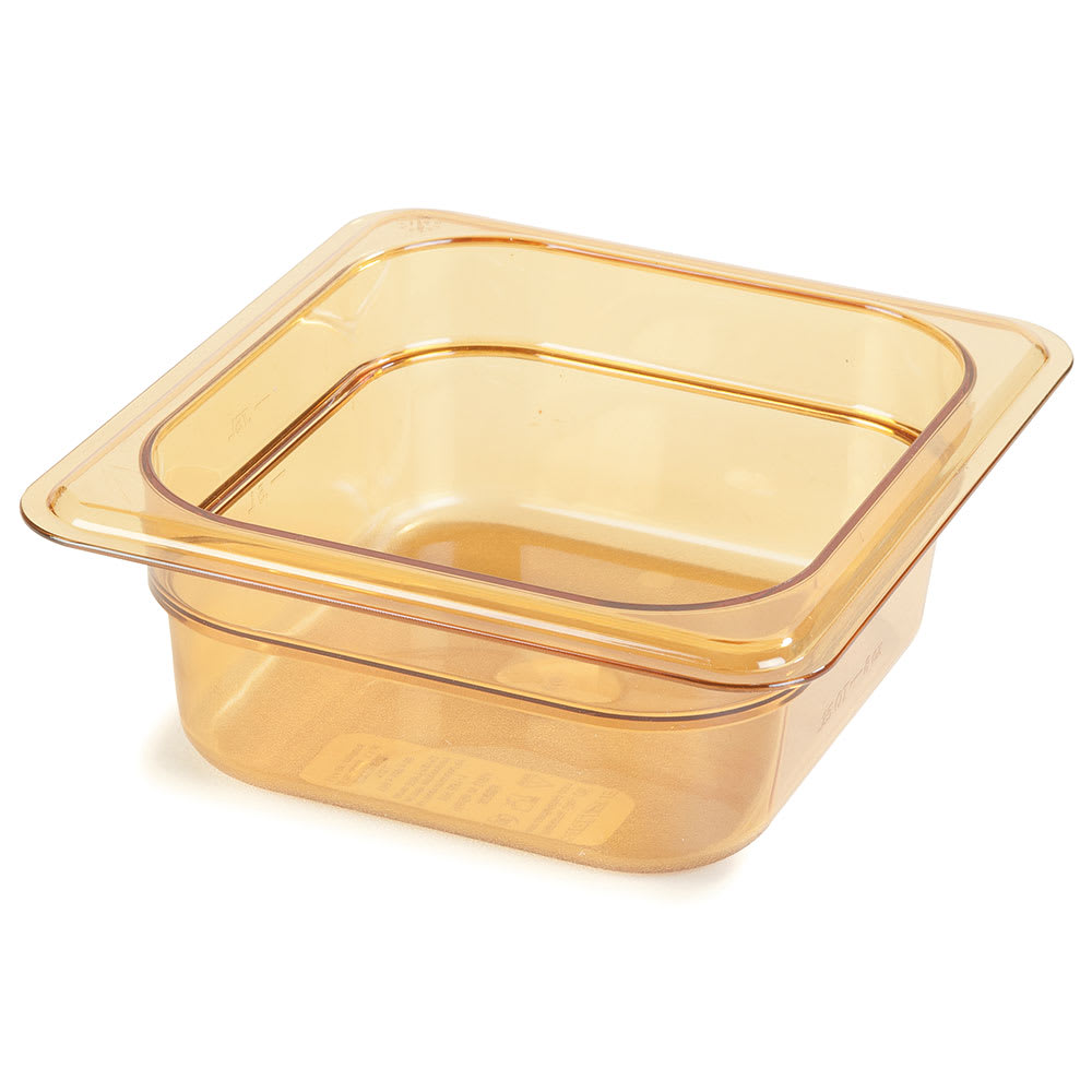 "Carlisle 3088313 StorPlus High Heat Food Pan - 1/6 Size, 2.5""D, Amber"