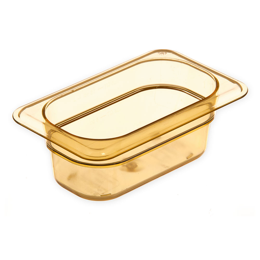 "Carlisle 3088613 StorPlus High Heat Food Pan - 1/9 Size, 2.5""D, Amber"