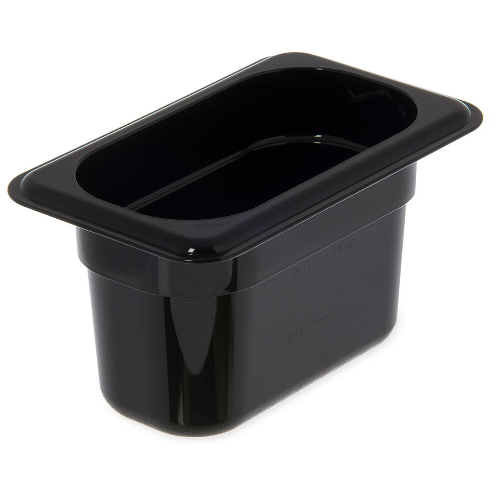 "Carlisle 3088703 StorPlus High Heat Food Pan - 1/9 Size, 4""D, Black"