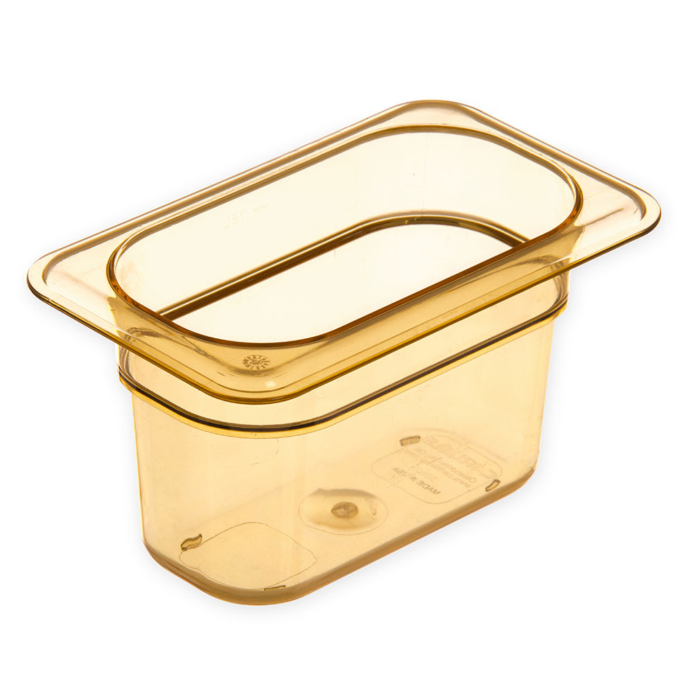 "Carlisle 3088713 StorPlus High Heat Food Pan - 1/9 Size, 4""D, Amber"