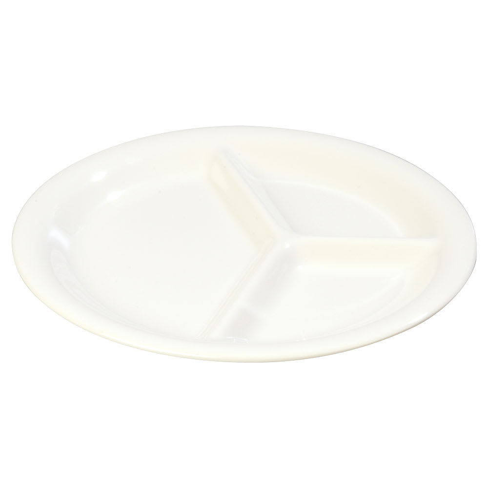 "Carlisle 3300002 10-1/2"" Sierrus Plate - 3-Compartment, Melamine, White"