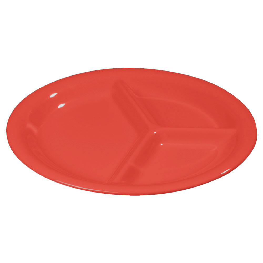 "Carlisle 3300005 10 1/2"" Sierrus Plate - 3 Compartment, Melamine, Red"