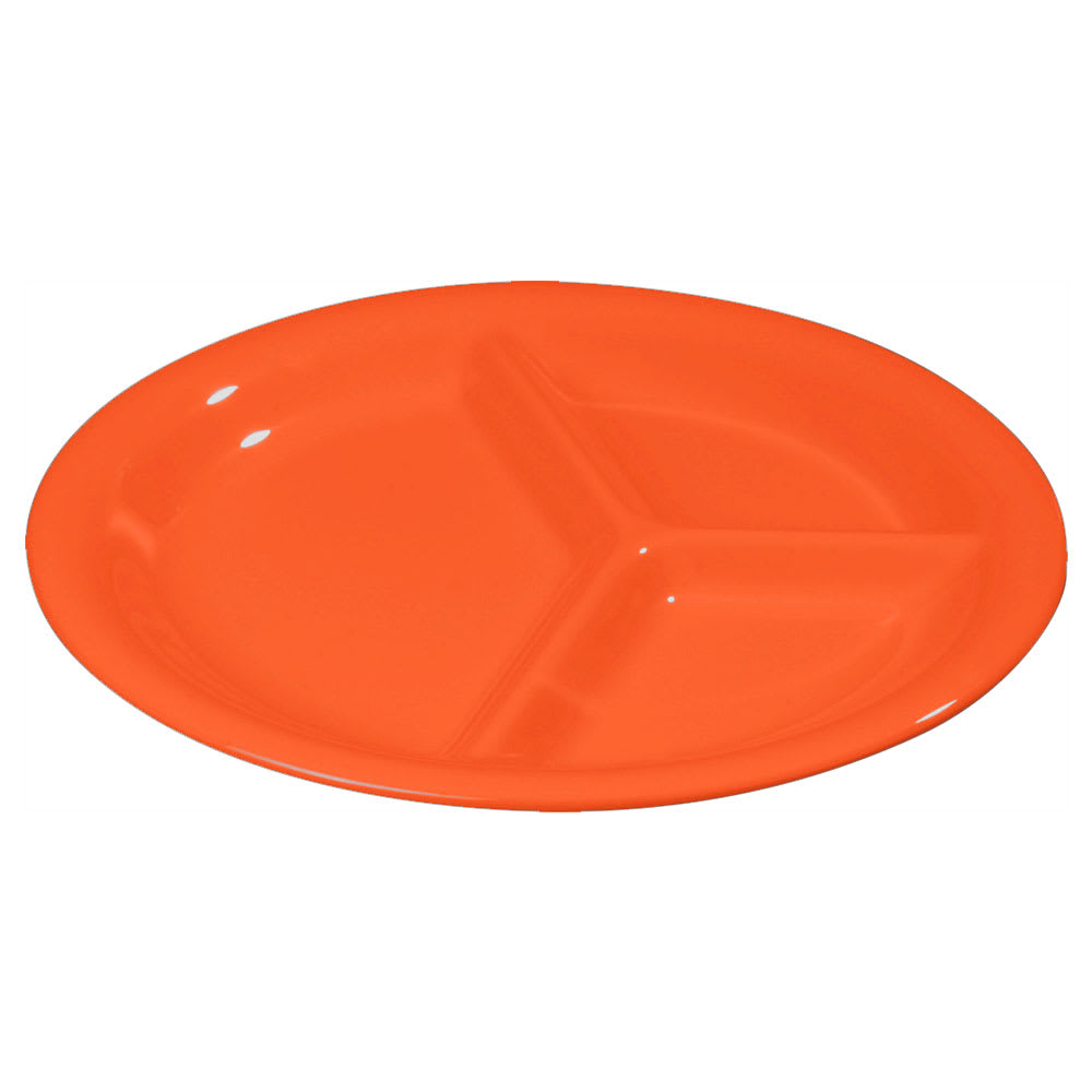 "Carlisle 3300052 10 1/2"" Sierrus Plate - 3 Compartment, Melamine, Sunset Orange"