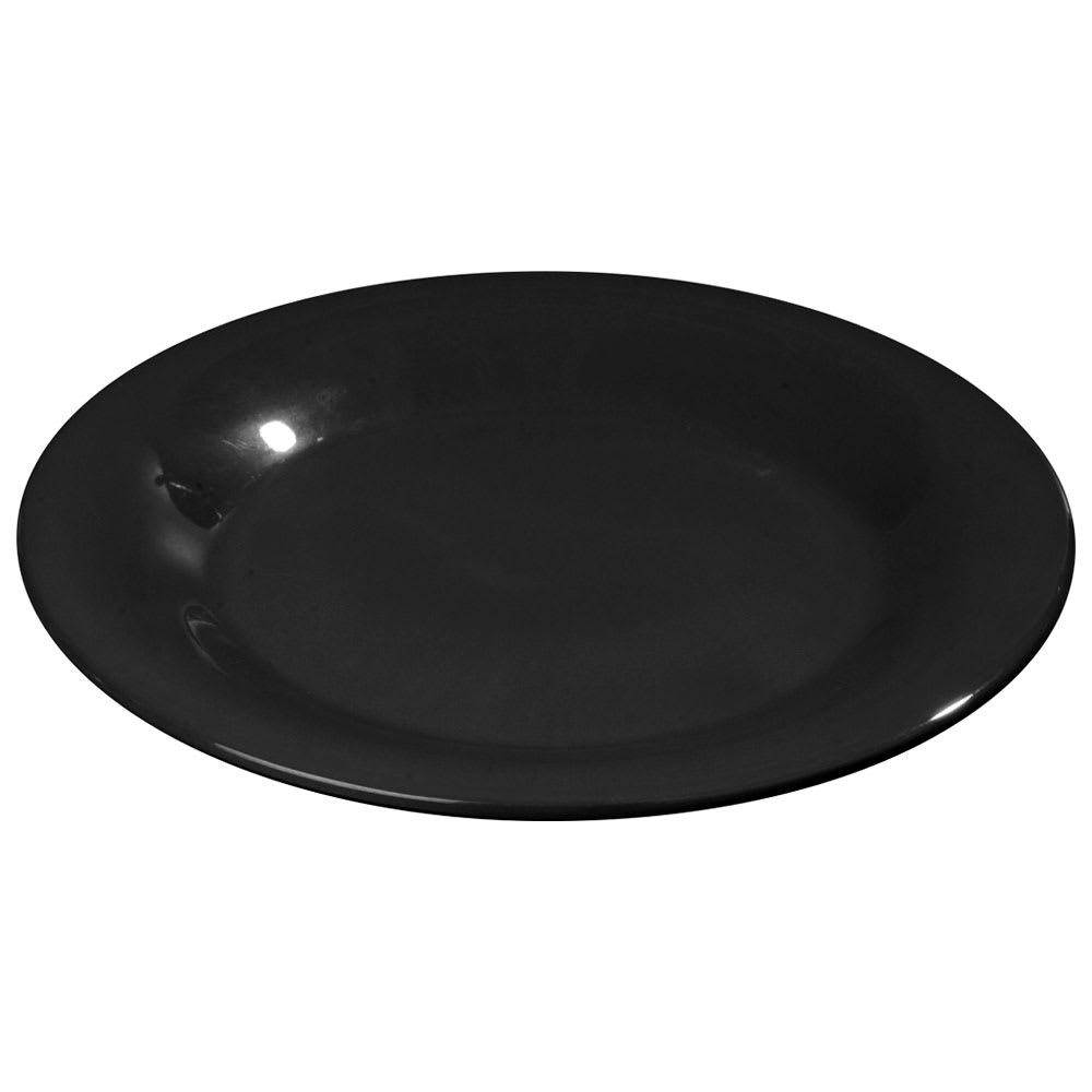 """Carlisle 3301003 10-1/2"""" Sierrus Dinner Plate - Wide Rim, Melamine, Black"""