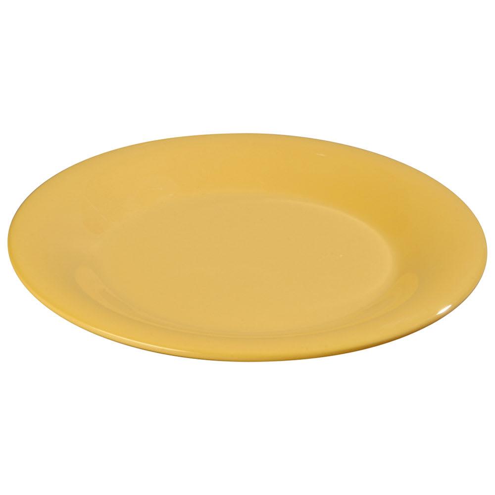"Carlisle 3301222 9"" Sierrus Dinner Plate - Wide Rim, Melamine, Honey Yellow"