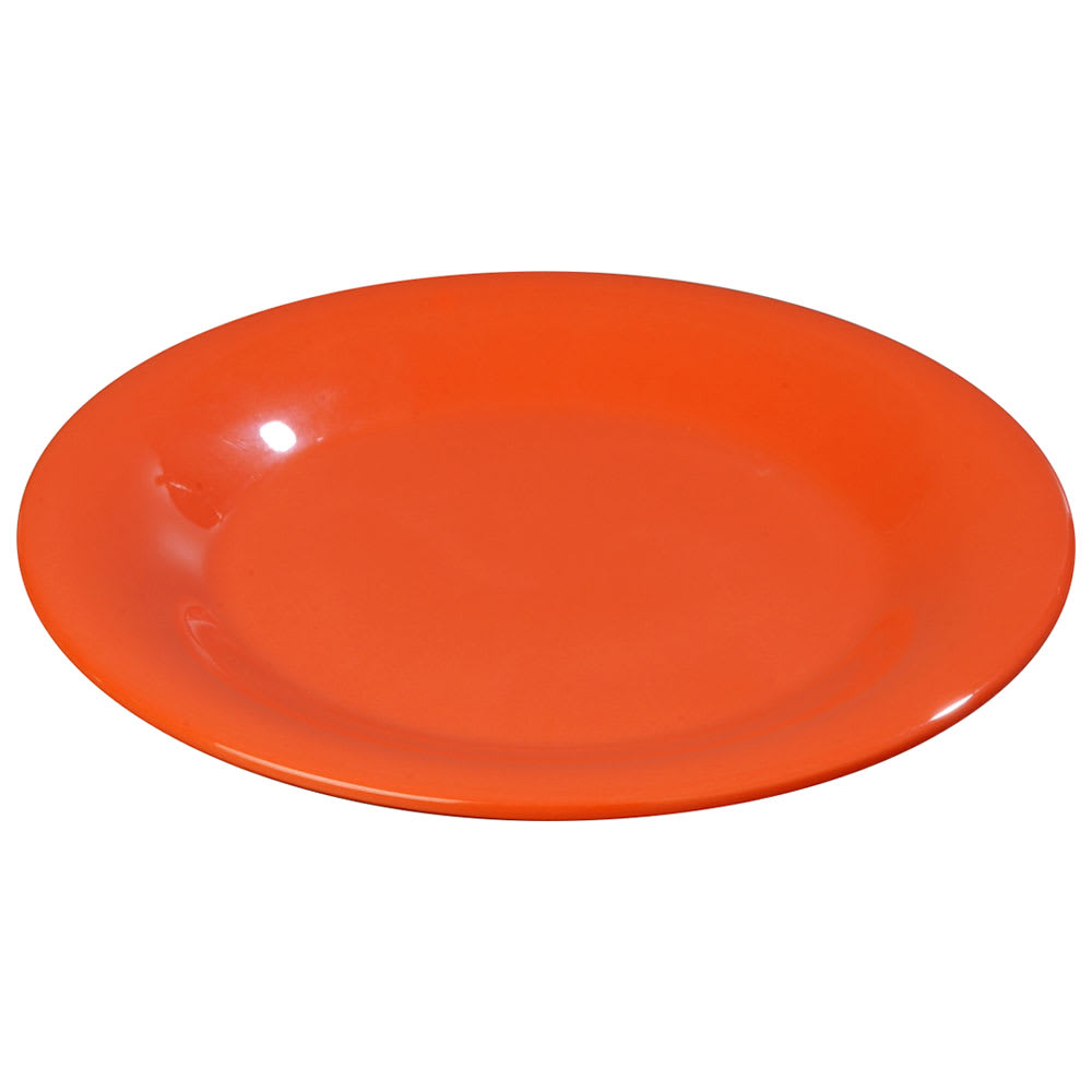 "Carlisle 3301652 7 1/4"" Sierrus Salad Plate - Wide Rim, Melamine, Sunset Orange"