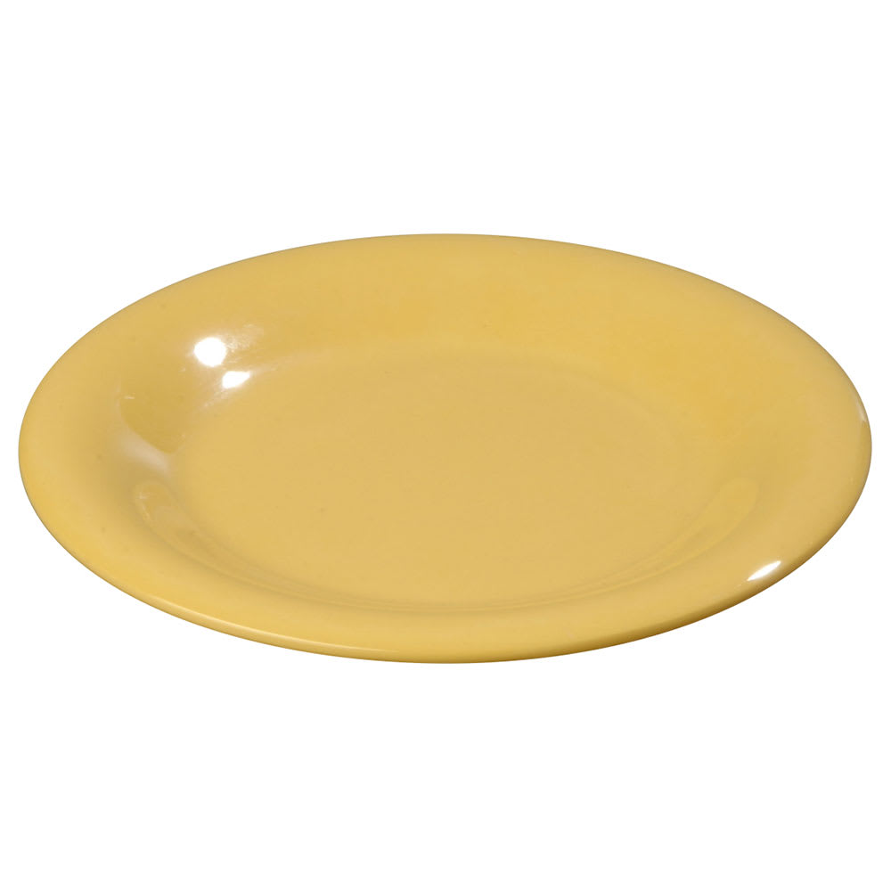 "Carlisle 3302022 5 1/2"" Sierrus Bread/Butter Plate - Wide Rime, Melamine, Honey Yellow"