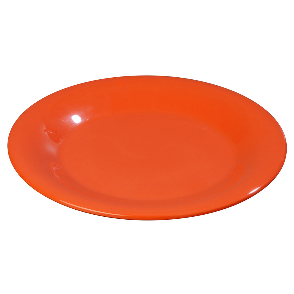 "Carlisle 3302052 5-1/2"" Sierrus Bread/Butter Plate - Wide Rime, Melamine, Sunset Orange"