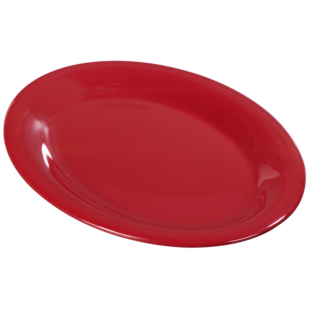 "Carlisle 3308005 Sierrus Oval Platter - 13 1/2x10 1/2"" Melamine, Red"