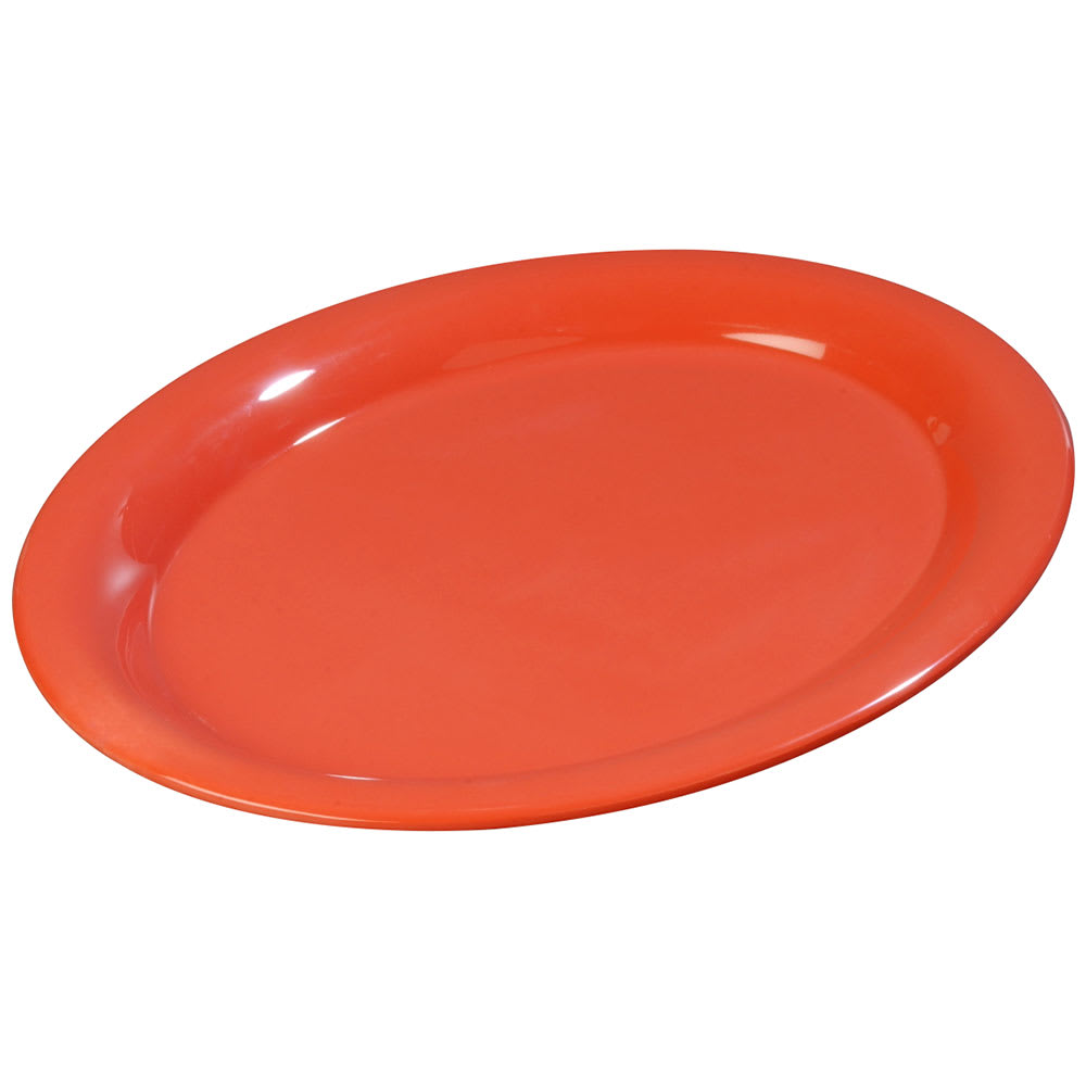 "Carlisle 3308252 Sierrus Oval Platter - 12x9 1/4"" Melamine, Sunset Orange"