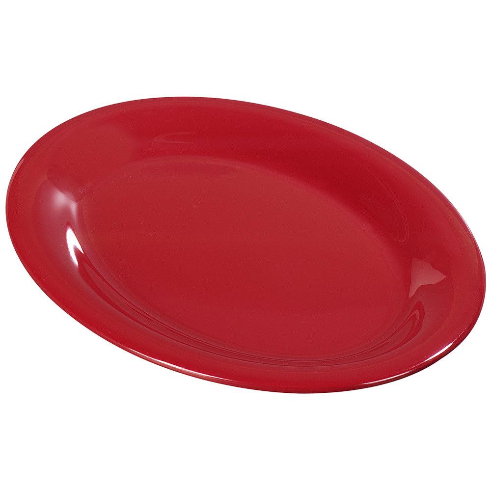 "Carlisle 3308605 Sierrus Oval Platter - 9 1/2x7 1/4"" Melamine, Red"