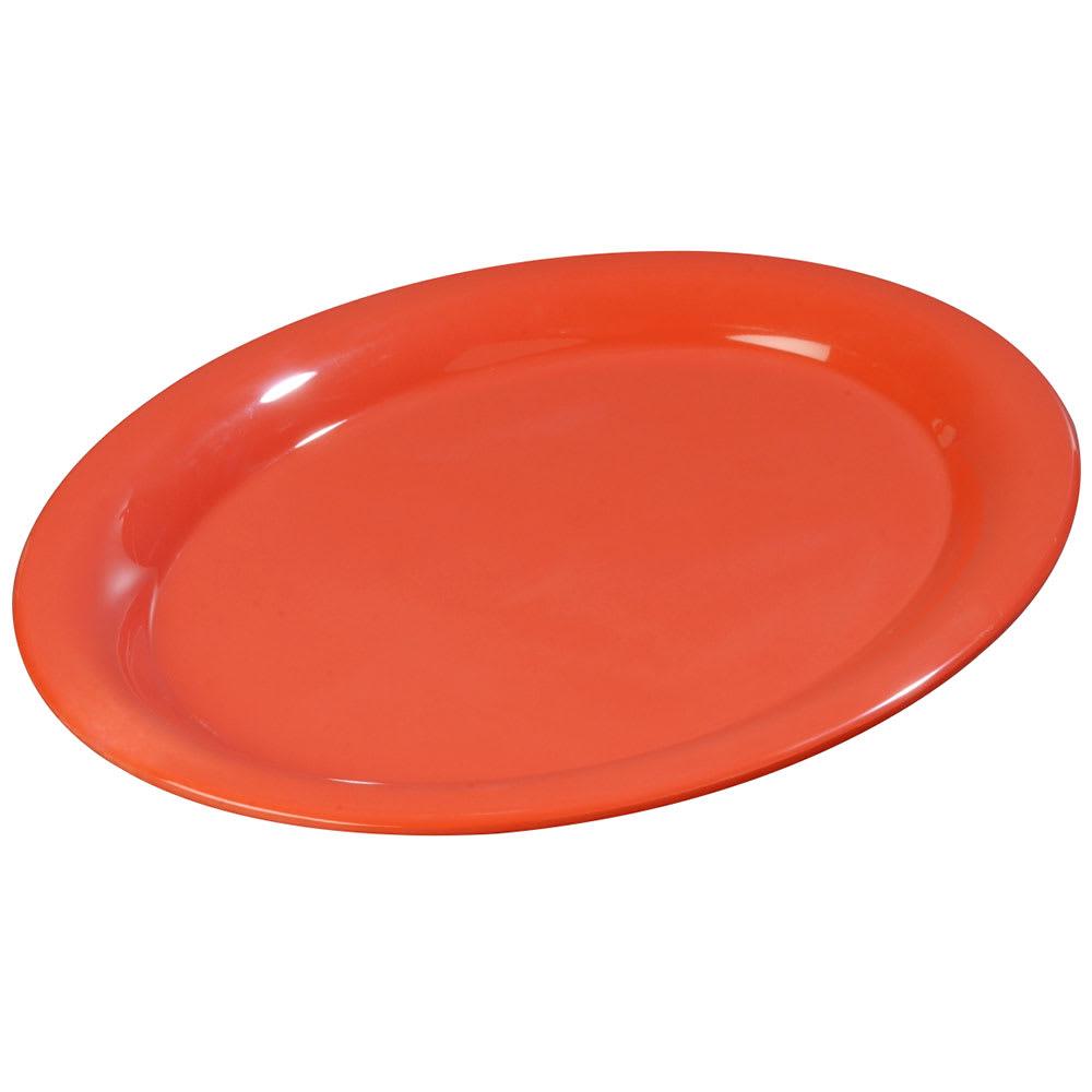 "Carlisle 3308652 Sierrus Oval Platter - 9-1/2x7-1/4"" Melamine, Sunset Orange"