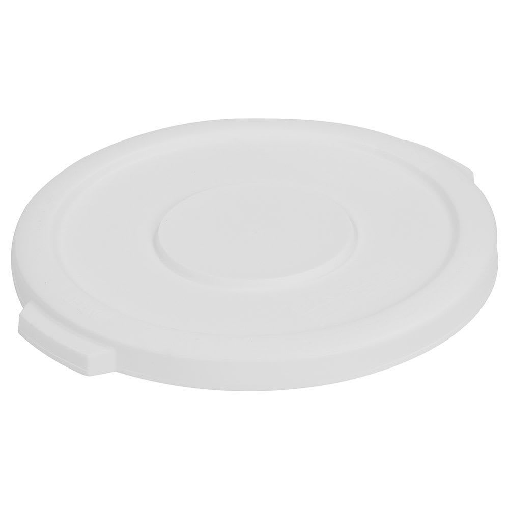 Carlisle 34101102 Round Flat Trash Can Lid - Plastic, White