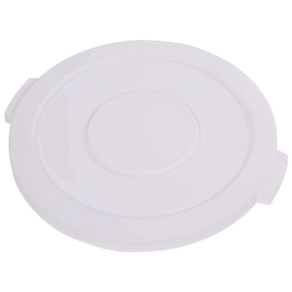 Carlisle 34102102 Round Flat Trash Can Lid - Plastic, White