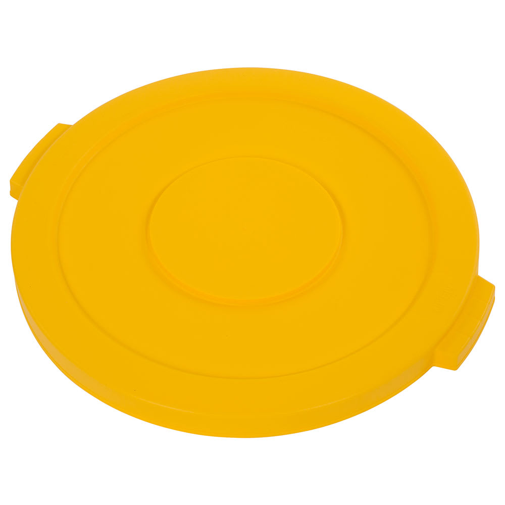 Carlisle 34102104 Round Flat Trash Can Lid - Plastic, Yellow