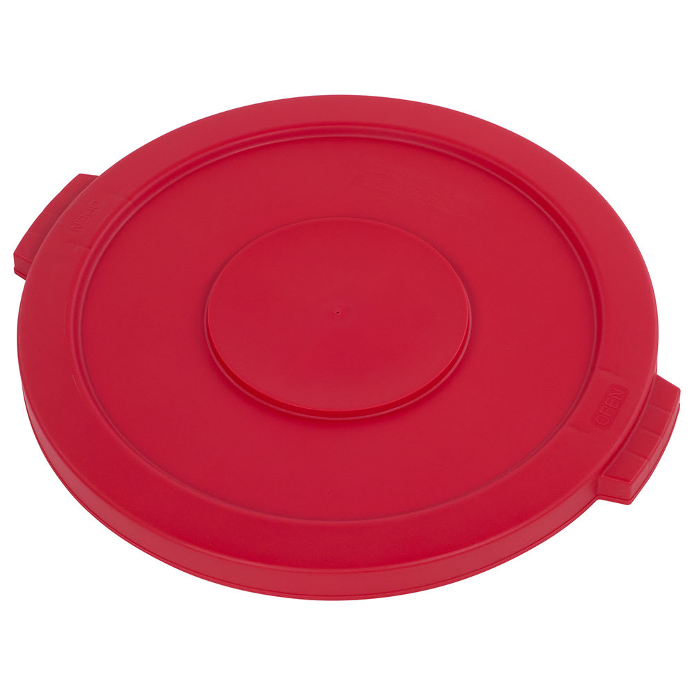 Carlisle 34102105 Round Flat Trash Can Lid - Plastic, Red