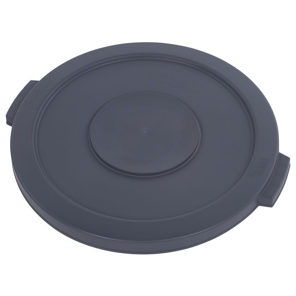 Carlisle 34102123 Round Flat Trash Can Lid - Plastic, Gray