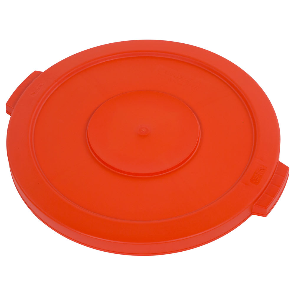 Carlisle 341021-24 Round Flat Trash Can Lid - Plastic, Orange