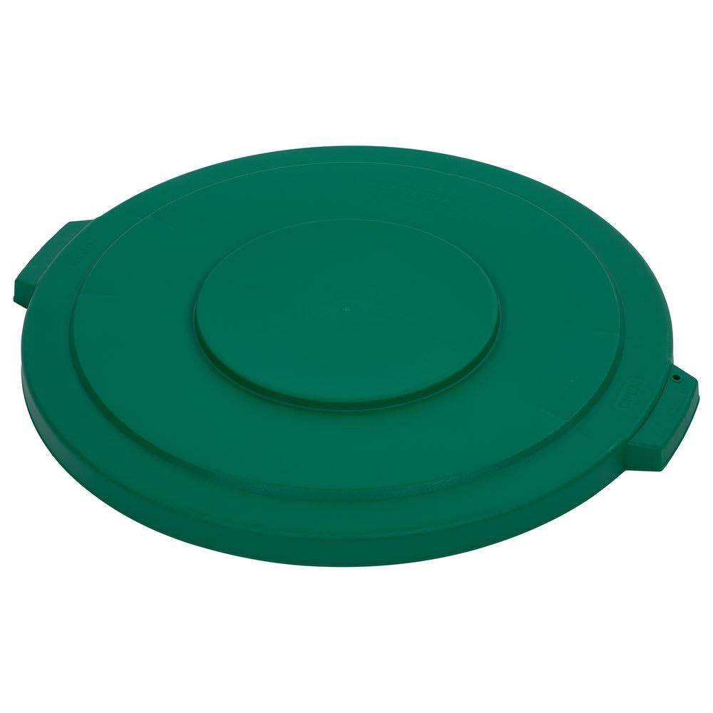 Carlisle 34103309 Round Flat Trash Can Lid - Plastic, Green