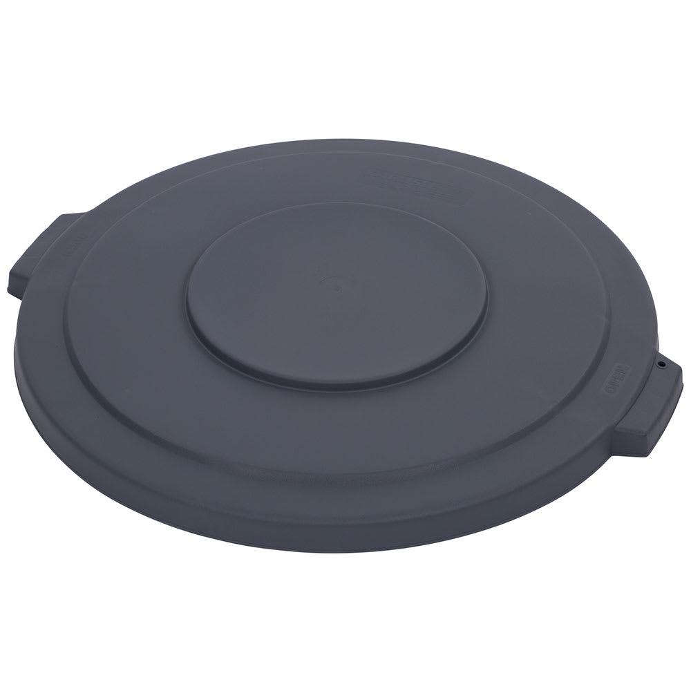 Carlisle 34103323 Round Flat Trash Can Lid - Plastic, Gray