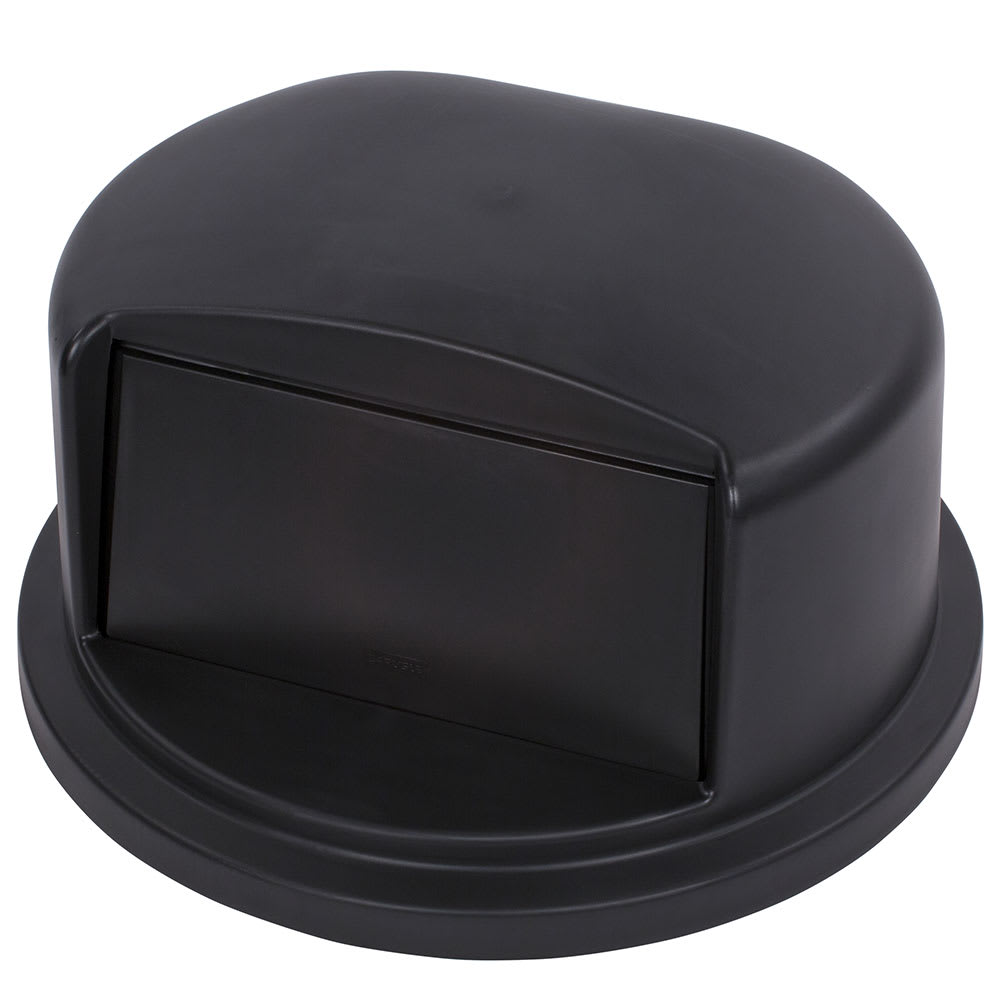 Carlisle 34103403 Round Flat Trash Can Lid - Plastic, Black