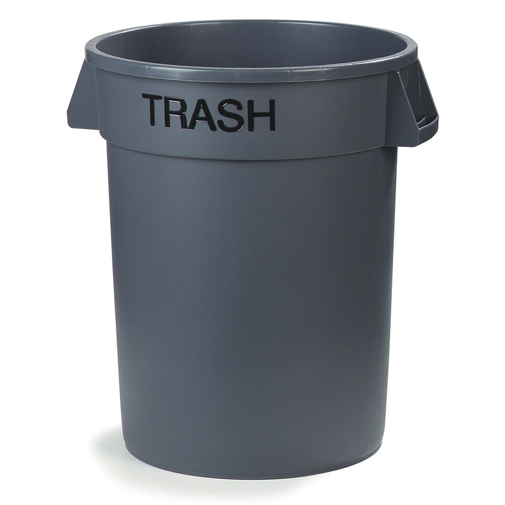Carlisle 341044TRON23 44 gallon Commercial Trash Can - Plastic, Round, Food Rated