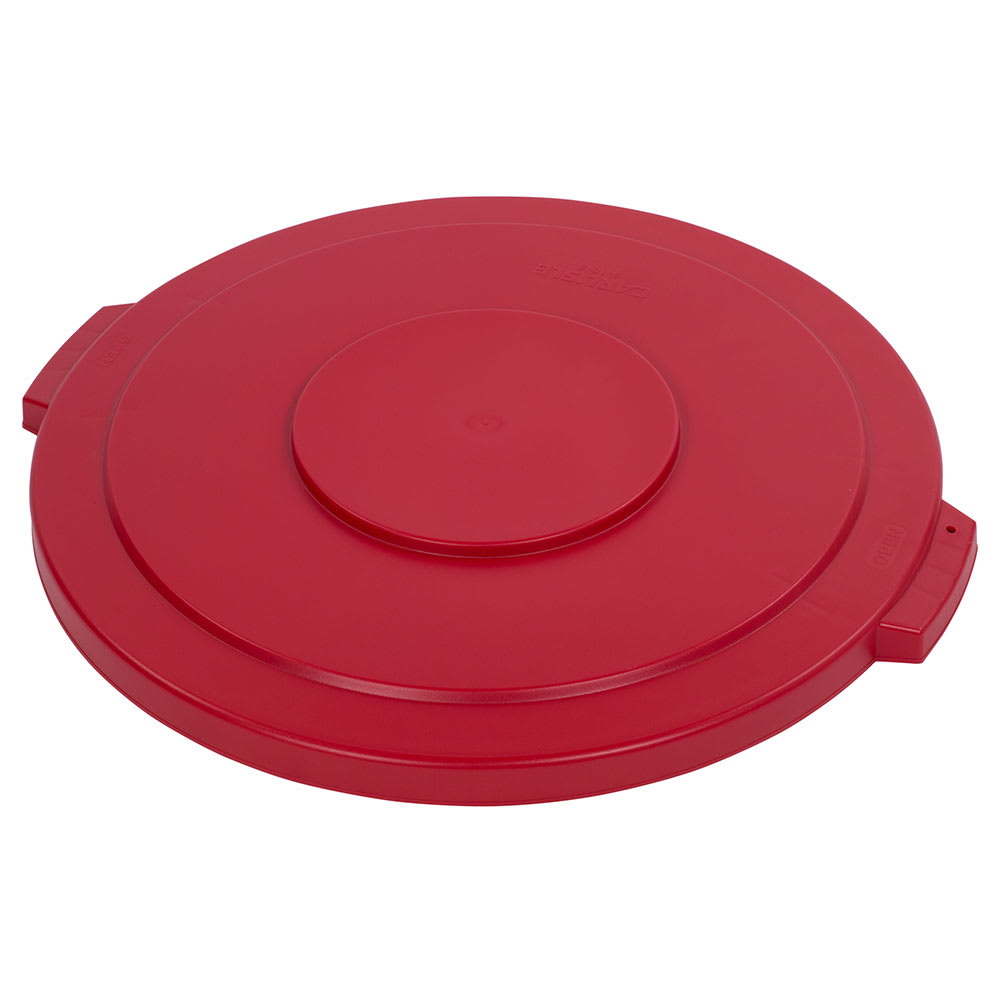 Carlisle 34104505 Round Flat Trash Can Lid - Plastic, Red