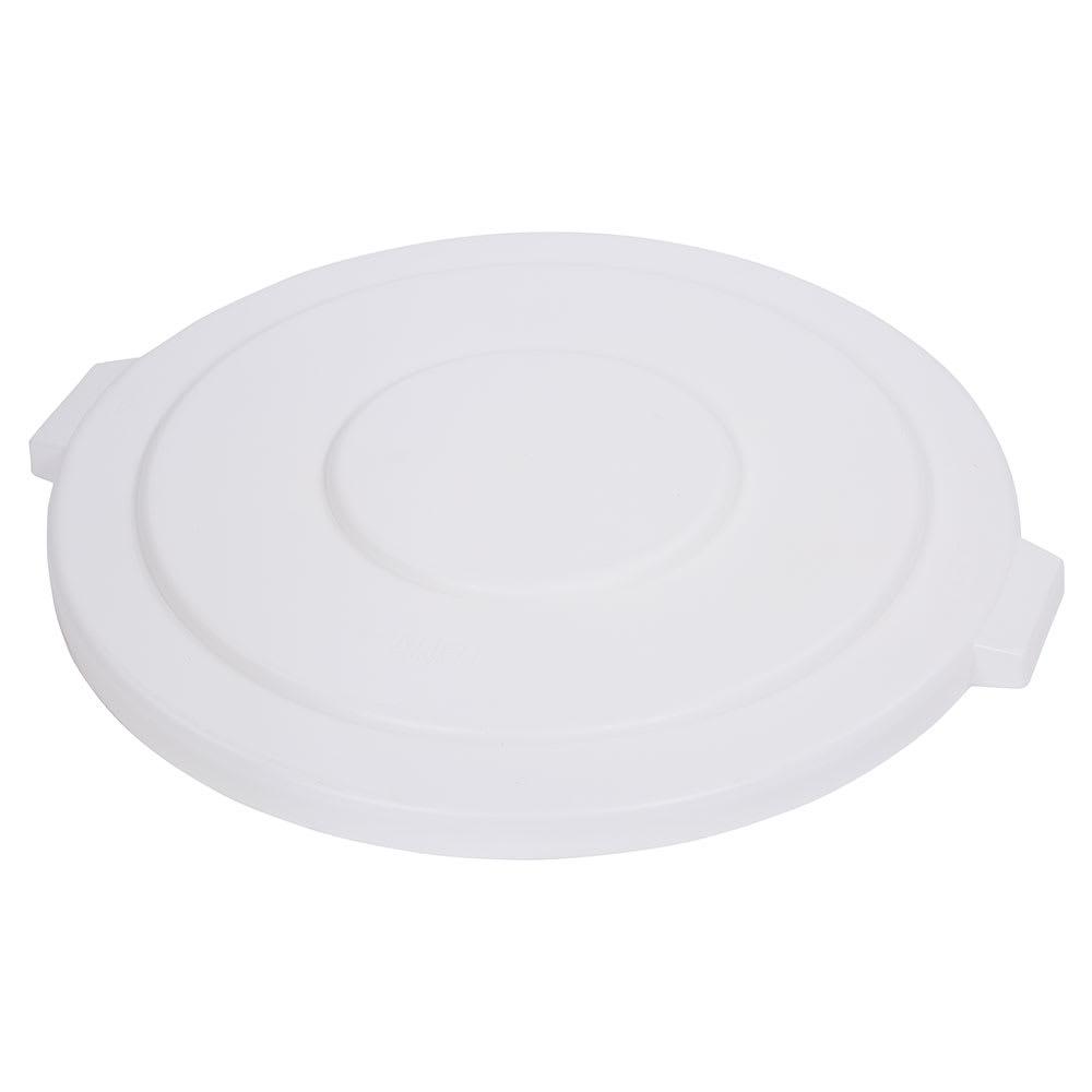 Carlisle 34105602 Round Flat Trash Can Lid - Plastic, White