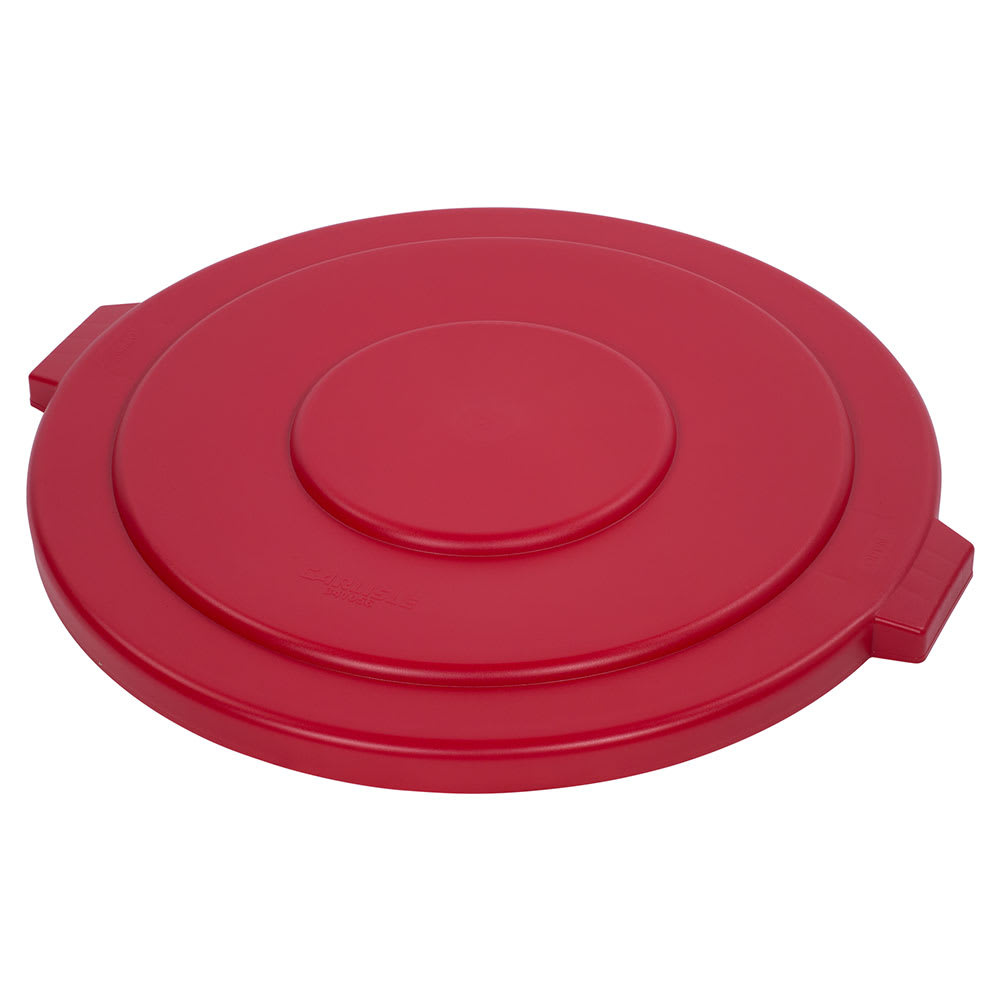 Carlisle 34105605 Round Flat Trash Can Lid - Plastic, Red