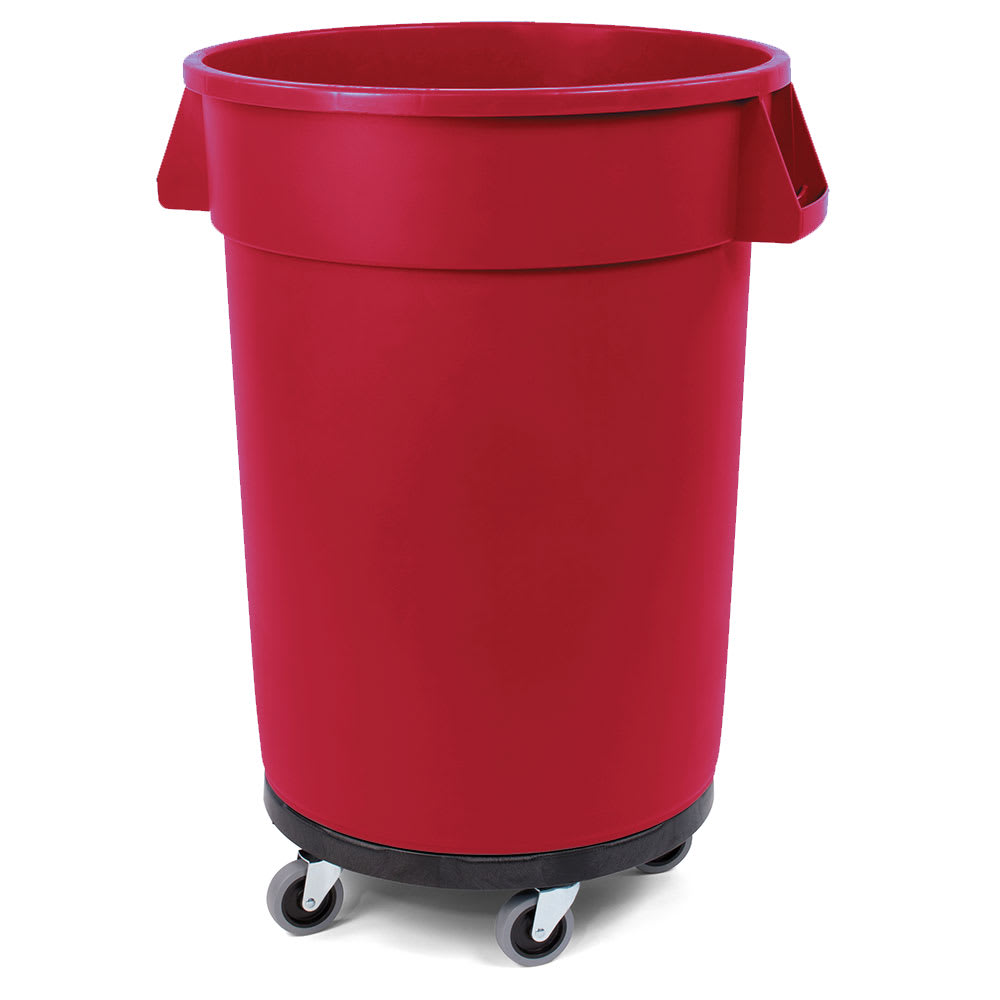 Carlisle 34113205 32-gallon Commercial Trash Can - Plastic, Round, Dolly