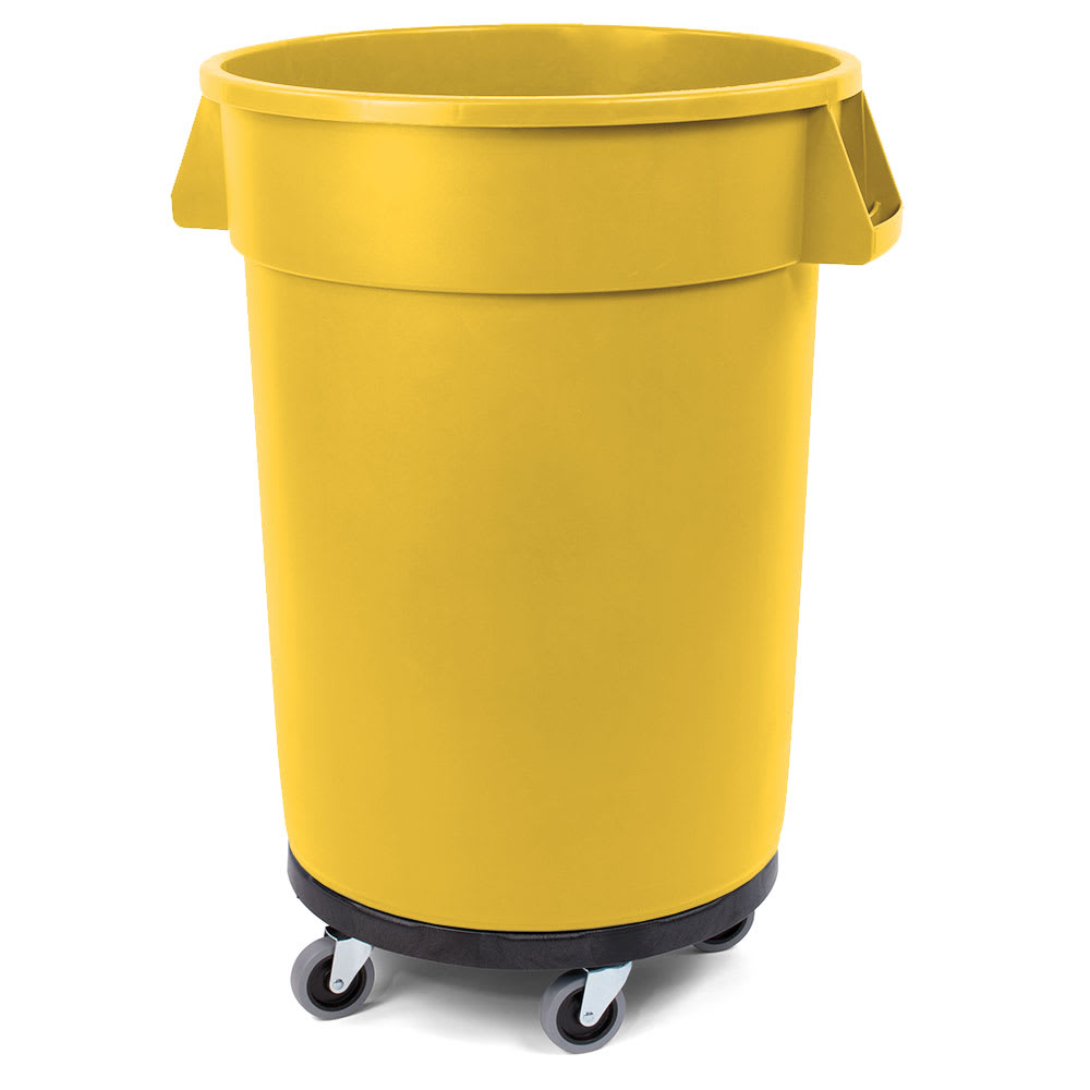 Carlisle 34114404 44 gallon Commercial Trash Can - Plastic, Round, Dolly