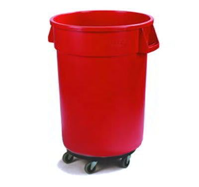 Carlisle 34114405 44-gal Round Waste Container, Red