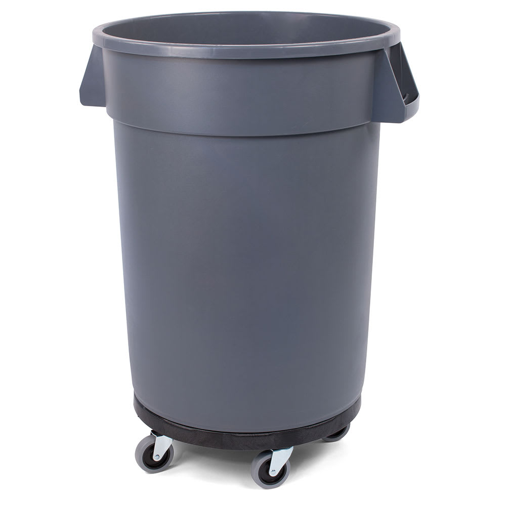 Carlisle 34114423 44 gallon Commercial Trash Can - Plastic, Round, Dolly