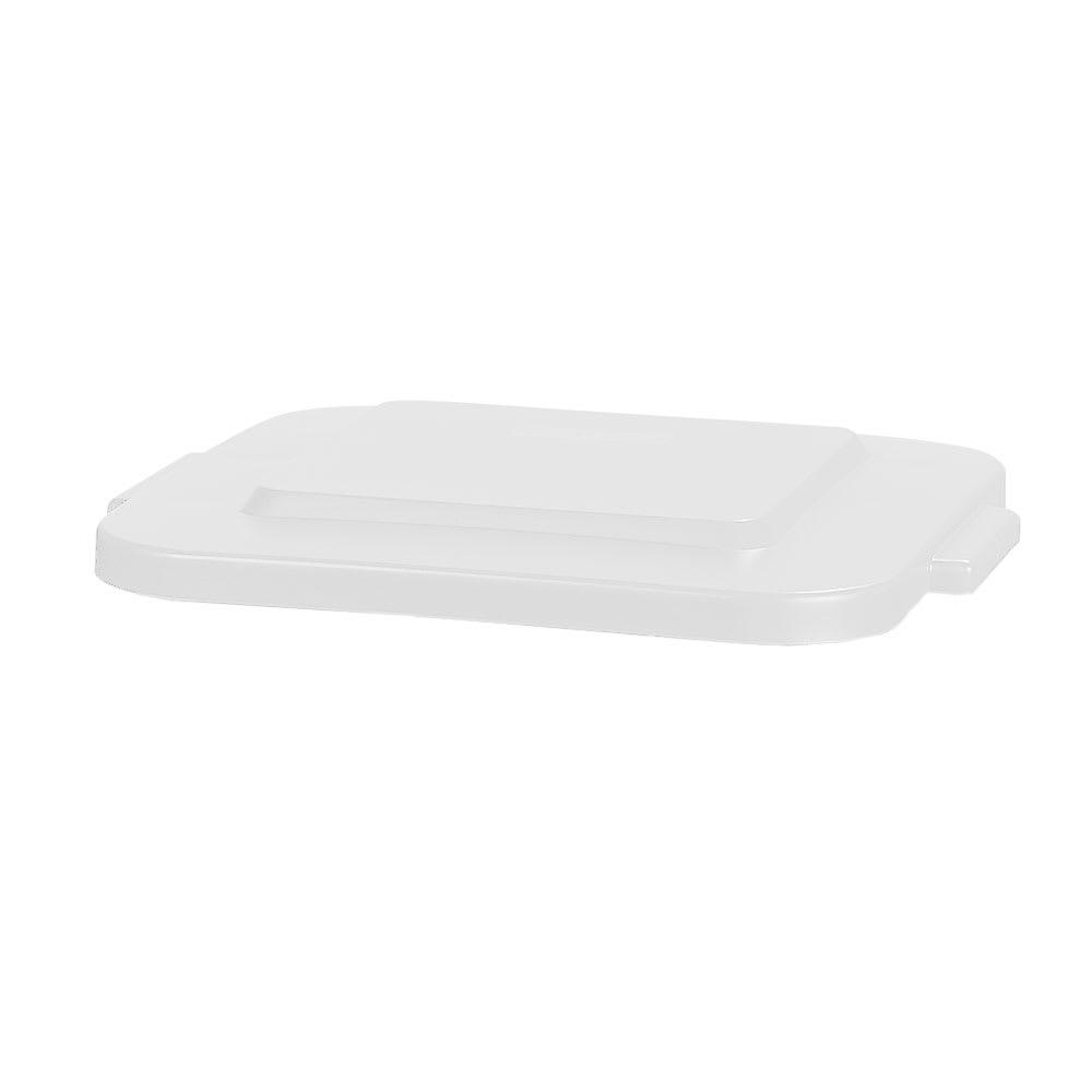 Carlisle 341541-02 Square Flat Trash Can Lid - Plastic, White