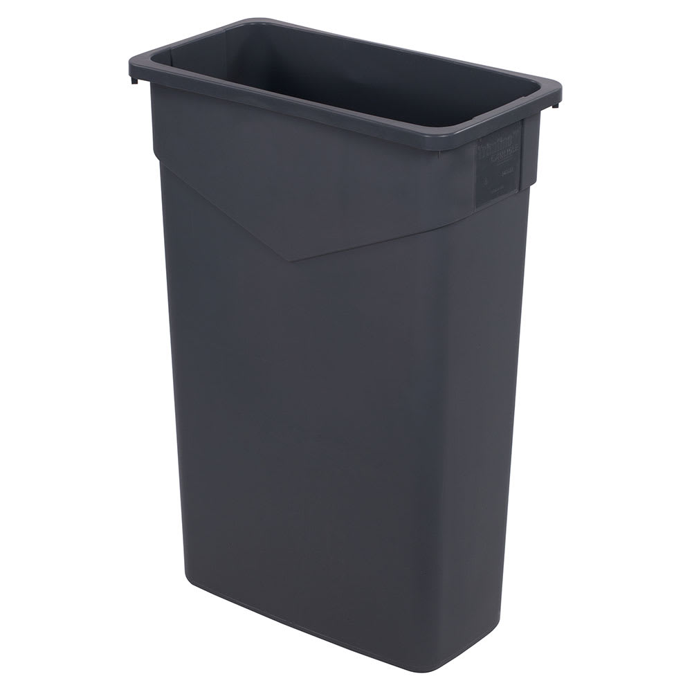 Carlisle 34202323 23 gallon Commercial Trash Can - Plastic, Rectangular, Built-in Handles, Gray